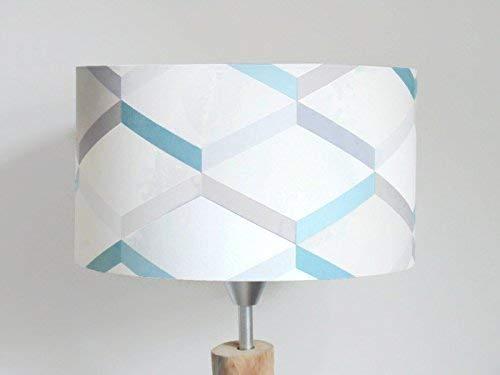 abat-jour motif géométrique scandinave bleu gris Luminaire chambre ...