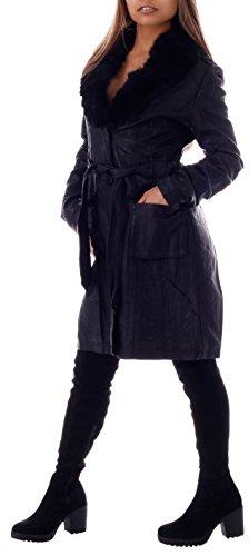 Damen Kunstleder Mantel mit abknöpfbarem Fellkragen Schwarz