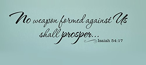 YINGKAI Religious Wall Decal No Weapon Formed Against Us Shall Prosper Isaiah 54:17 Wall Quote Bible Scripture Sticker Vinyl Lettering Spiritual Removable Decal For Home Decoration (You Shall Prosper)