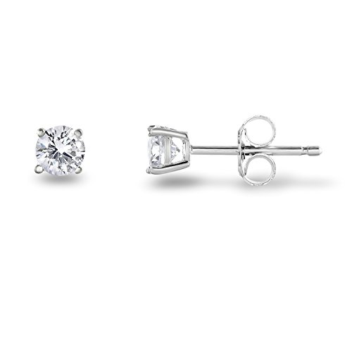 Cupid White Gold Ring - Rhodium Plated Sterling Silver Cubic Zirconia Classic Basket Prong Set Eternity Stud Earrings, (4mm)
