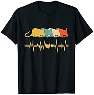 Rat , Retro Vintage Heartbeat Animal Lover Gift T T-shirt | Size S - 5XL