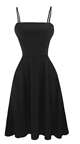 Sylvestidoso Women's A-Line Pleated Little Black Cocktail Party Dress with Spaghetti Straps (L, (Lbd Little Black Dress)