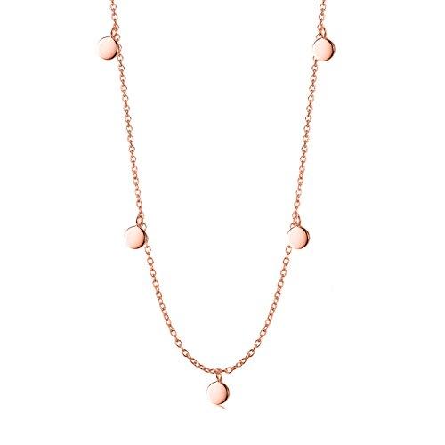 - Lemondrop Disc Choker Necklace - Rose Gold over Sterling Silver - 13