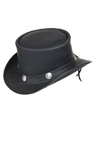 Steampunk El Dorado Leather Top Hat with Buffalo Nickels, BLACK, Size Medium (7) by Overland Sheepskin Co