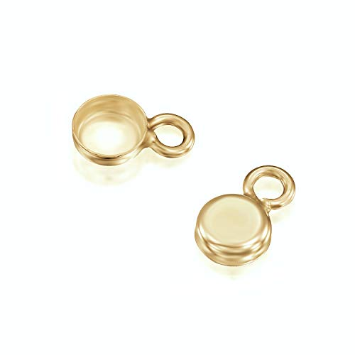 14k Gold-Filled Round Setting with 1 Loop 4 mm Bezel Cup Findings for Pendants Charms Earrings, 4 Pcs