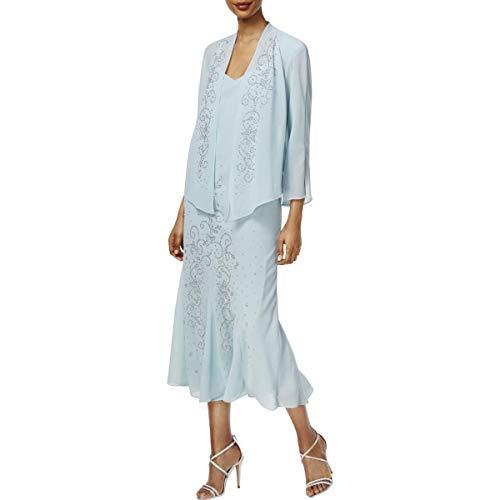 R&M Richards Women's Beaded Chiffon Jacket Dress, Slate, 12