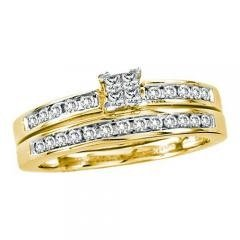 14k Yellow Gold 0.50Ctw Diamond Invisible Bridal Set Ring (Bridal Diamond Set Invisible)