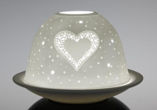 Porcelain Dome Lights with Led Base in a Heart Design