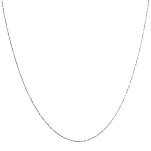 14k White Gold 0.8mm Flat Round Cable Chain (18 (14k White Gold Chain Necklace)