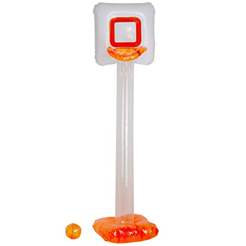 Kicko 6.5' Inflatable Basketball Set – Mini Kiddie Sports Hoop Game - Gift, Party Supplies and Backdrops, Novelty Toys for Summer Olympic at The Beach, Backyard on Themed Parties -