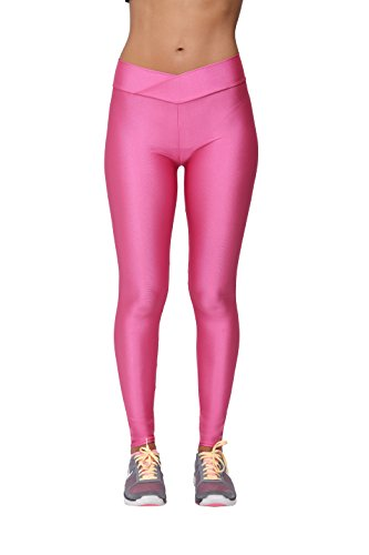 Yukata Women's Stretch Skinny Shiny Spandex Yoga Leggings Workout Sports Pants, Hot Pink - Pink Shiny