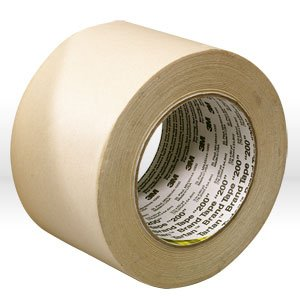 3M 200 Crepe Paper Masking Tape, 200 Degree F Performance Temperature, 19 lbs/in Tensile Strength, 55m Length x 24mm Width, Tan