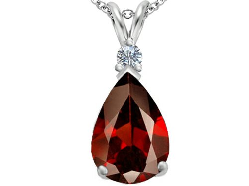 Star K Large 14x10mm Pear Shape Simulated Garnet Pendant Necklace Sterling Silver