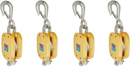 3200 lbs Load Capacity Indusco 16900136 6 Triple Wood Manila Rope Block with Hook 3-1//2 Sheave 3//4 Rope