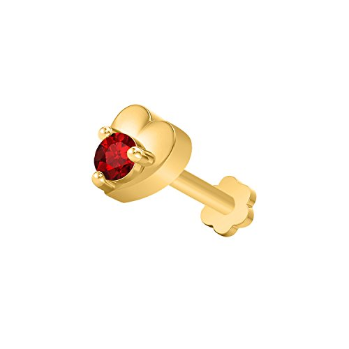 - OMEGA JEWELLERY 14K Yellow Gold Over Round Cut Sim. Gemstone Solitaire Heart Shape Nose Pin for Women (Ruby)