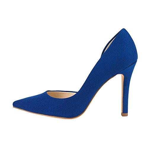 JENN ARDOR Stiletto High Heel Shoes for Women: Pointed, Closed Toe Classic Slip On Dress Pumps-Blue by JENN ARDOR (Image #3)