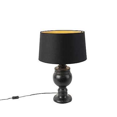 QAZQA rústico Lámpara de mesa rústica pantalla algodón 45 ...