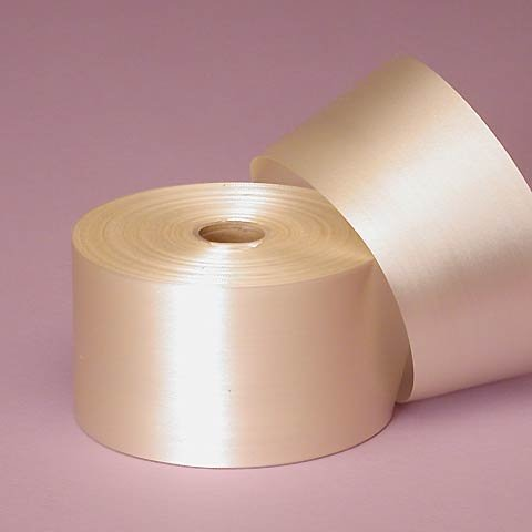 Ivory Embossed Poly Satin Ribbon, 2-3/4