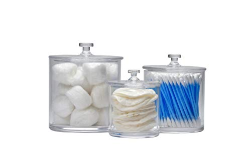 IS Enterprises Set of 3 Apothecary - Acrylic Jars - Plastic Jars - Great Home Decor Pieces - Apothecary Jars Small - Apothecary Jars for Bathroom - Bath Salts - Cosmetic Pads - Bath Bomb jar (Glass Home Decor Balls)
