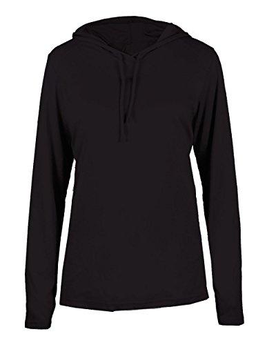 (Ladies Black Long Sleeve B-Core Large Performance Sports Hoodie Wicking T-Shirt )