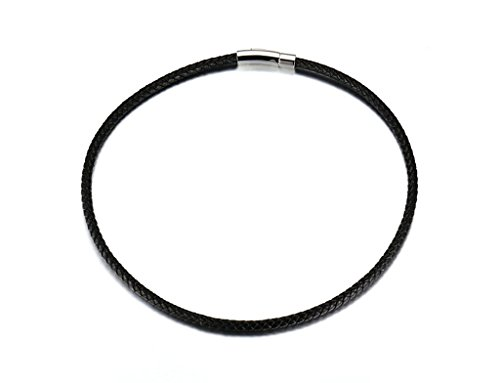 Epinki Mens Necklace, Stainless Steel Black Thin Choker Genuine Leather Magnetic Clasp 5MM 55CM Necklace