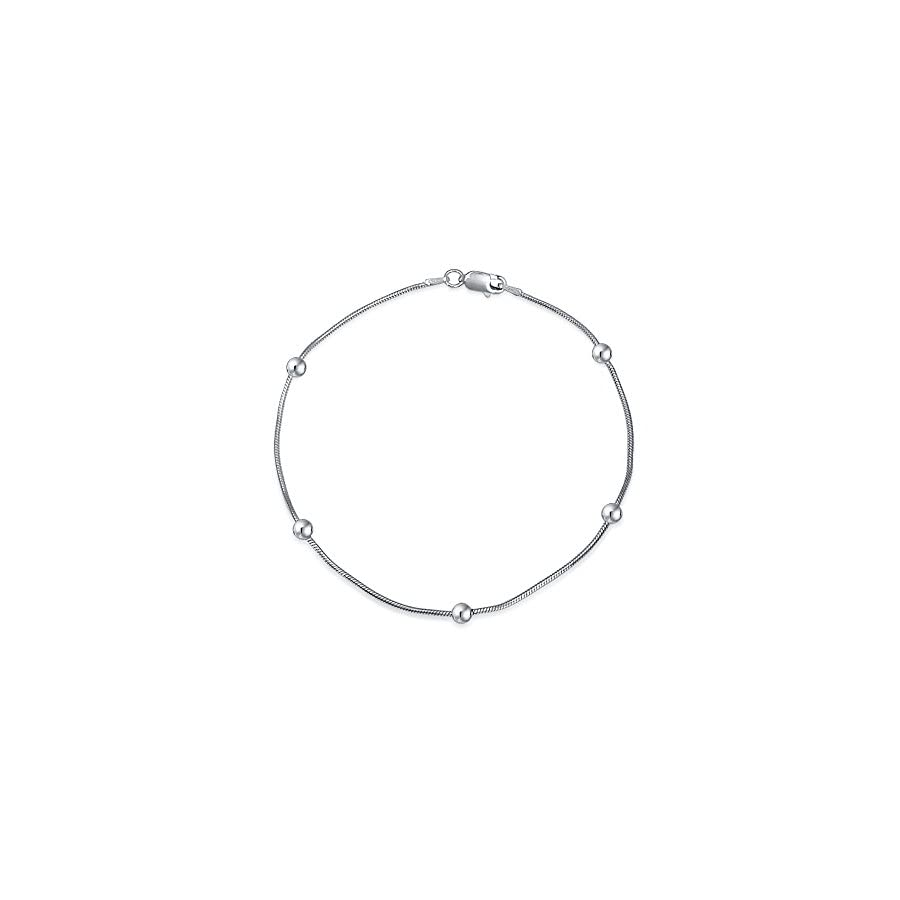 Sterling Silver Ball Snake Chain Ankle Bracelet 9in Italy