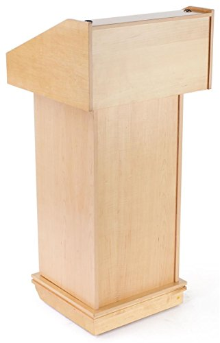 Maple Finish Podium For Tabletop Or Free-Standing Use With Hidden Wheels, 22-3/8 x 48 x 21-5/8-Inch by Displays2go
