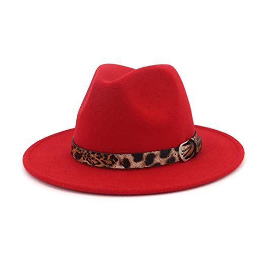 Mens Woolen Wide Brim Fedora Hats Classic Vintage Trilby Hat Jazz Cap with Leopard Print Belt Buckle Red