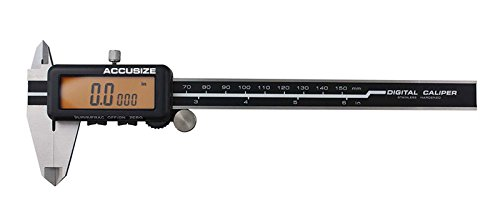 AccusizeTools - 6'' Super Large Screen Yellow LCD Electronic Digital Caliper, Metric/Inch/Fractional, 1/128'', 1110-1818 with Strong Fitted Case