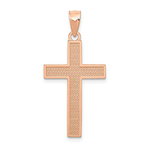 14k Rose Gold Cross Religious Pendant Charm Necklace Latin Fine Jewelry Gifts For Women For Her