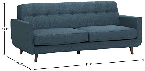 Living Room Amazon Brand – Rivet Sloane Mid-Century Modern Sofa Couch, 79.9″W, Denim Blue modern sofas and couches