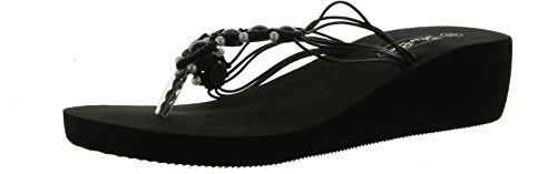 Sunville Fashion Fashion Wedge Womens Sunville Sandals Wedge Womens Black Beaded rw4EqrA