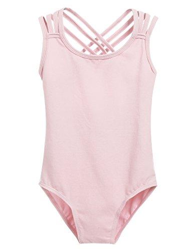 Arshiner Kids Girl Back Hollow Slim Dancing Ballet Camisole Tank Leotard,Pastel Pink,Size 120 ()