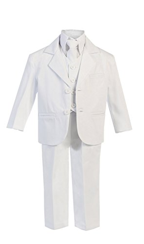 5 Piece Boy's Dress Suit with Shirt, Vest, and Tie (8, White) -