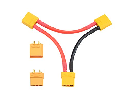 WGCD 1 Pair XT90 Battery Connector and 1 PCS XT90 Battery Series Connector 10 Gauge Wire for RC Battery Helicopter Quadcopter