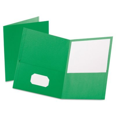 Oxford 57503 Twin-Pocket Folder, Embossed Leather Grain Paper, Light Green, 25/Box