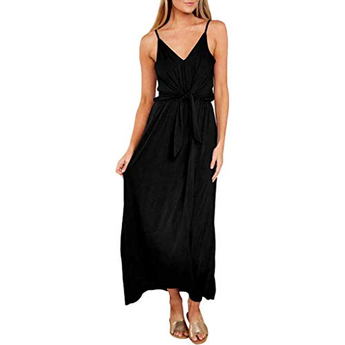 Aunimeifly Women Simple Solid Color Dress Ladies Summer Sexy Bow Strappy V-Neck Sling Long Dresses Black