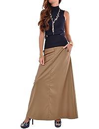 Just Chic Khaki Long Skirt-Beige-28(8)