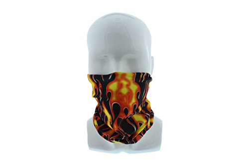 Masque Ball Costumes (Full Flames Seamless Wide Tube Bandana Balaclava Face Mask for Men & Women – Paintball, Ski, Costume, Motorcycle Helmet)