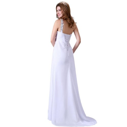 Pinsel Etui Kleidungen Damen Aermellos Dearta Linie Brautkleider 1 Chiffon Schulter Schleppe Schnuerung Weiß Z6wxxE
