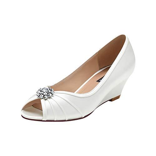 (ERIJUNOR E2019A Women Comfortable Low Heel Wedges Peep Toe Wedding Shoes Ivory Size 8)