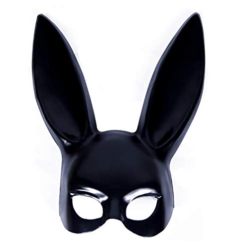 DRAGON SONIC Bunny Ears Half Mask for Makeup Dance/Halloween (Black) -