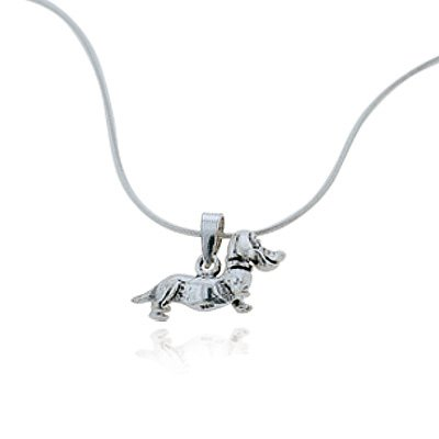 925 Oxidized Sterling Silver Dachshund Puppy Dog Pet Lover Pendant Necklace, 18 inches - Rottweiler Jewelry