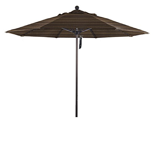 Eclipse Collection 9' Fiberglass Market Umbrella Pulley Open Bronze/Olefin/Terrace Sequoia