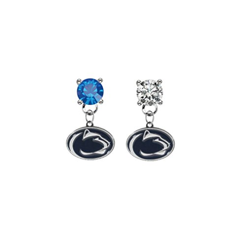 (Penn State Nittany Lions Blue & Clear Crystal Stud Post Dangle Earrings)