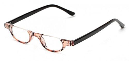 The Hunter Colorful Retro Half Under Frame Rimless Round Vintage Reading Glasses +1.75 Brown Stripe (Carrying Case - Rim Under Glasses