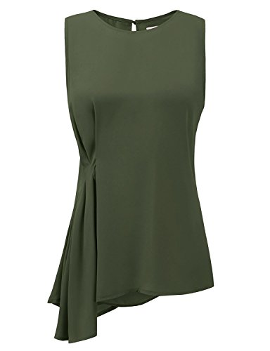 - Regna X Womens Green semi Sheer Asymmetric 3 4 Sleeve Blouse Top X-Large