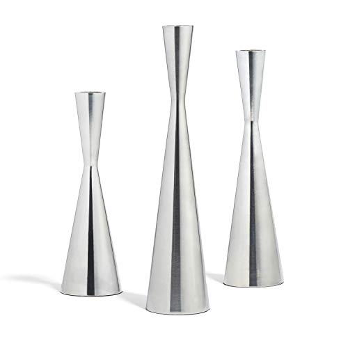 - LampLust Taper Candle Holders Set of 3 - Silver Finished Tall Candlesticks, Fits Standard Tapered Candles, Table Centerpiece or Modern Decor