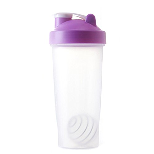 BG-Style Pp Water Bottle Travel To-Go Drinkware Mix Shake Bottle Classic Shaker Bottle Protein Powder Shake Cup Purple 600ml