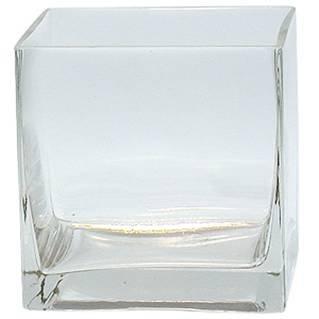 JLGLASS Square Clear Vase, 4